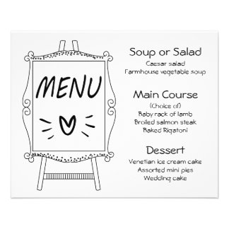 Black And White Wedding Party  Menu Easel Sign