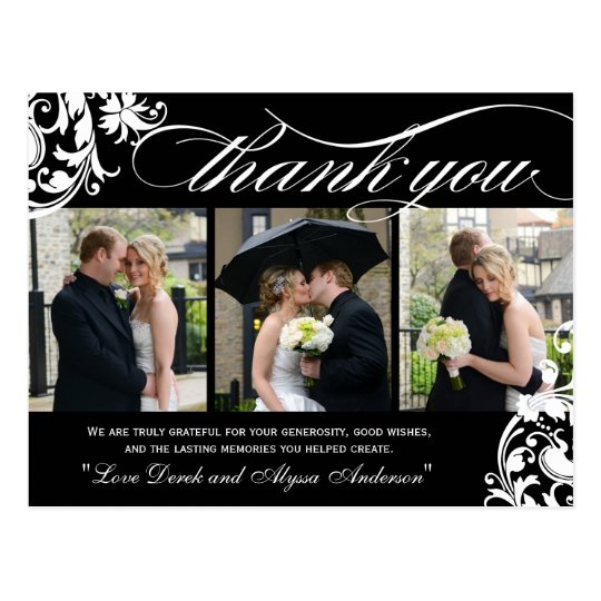 Black and White Wedding Photo Thank You Postcards
