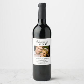 Black and White Wedding Photo Wine Bottle Favour Wine Label