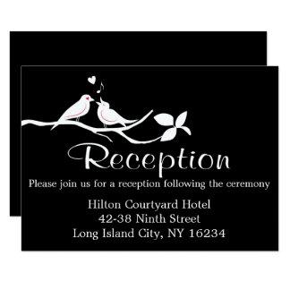 Black And White Wedding Reception Lovebirds Card