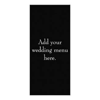 Black and White Wedding Reception Menu Cards Rack Card Template