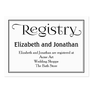 Black and White Wedding Registry Card Pack Of Chubby Business Cards