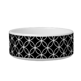 Black and White Wedding Ring Pattern Monogram Cat Bowl