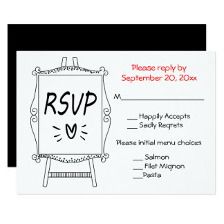 Black And White Wedding RSVP Artist Easel Sign Card