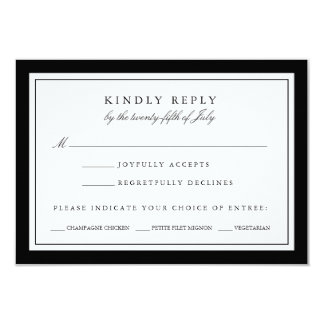 """Black and White Wedding RSVP Card w/ Meal Choice 3.5"""" X 5"""" Invitation Card"""