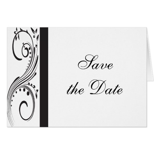 Black and White Wedding Save the Date Announcement
