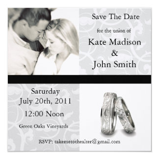"""Black and White Wedding """"Save The Date"""" Card"""