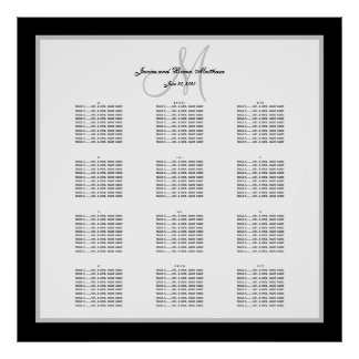 Black and White Wedding Seating Chart for 240 Poster