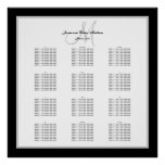 Black and White Wedding Seating Chart for 300