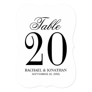 Black and White Wedding Table Number Card