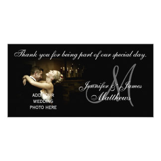 Black and White Wedding Thank You Monogram Card Photo Card Template