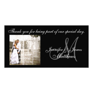 Black and White Wedding Thank You Monogram Cards Customized Photo Card