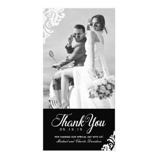 Black and White Wedding Thank You Photo Card (4x8)