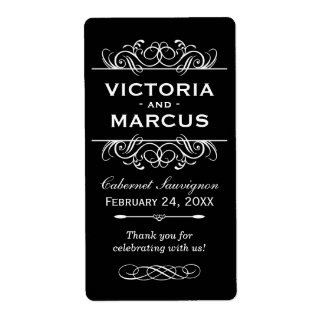Black and White Wedding Wine Bottle Favor Shipping Label