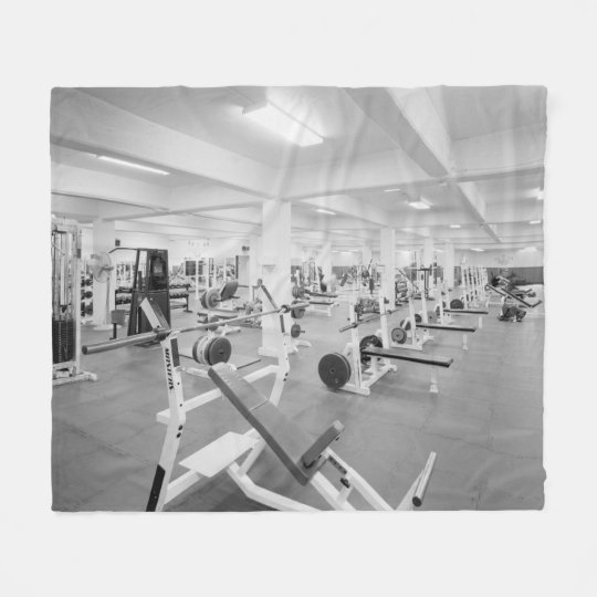 Black and White Weight Room Photograph Fleece Blanket