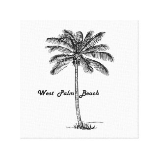Black and white West Palm Beach & Palm design Canvas Print