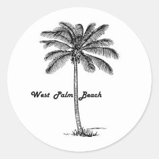 Black and white West Palm Beach & Palm design Classic Round Sticker