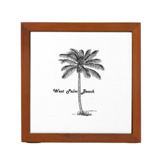 Black and white West Palm Beach & Palm design Desk Organizer