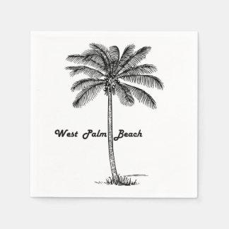 Black and white West Palm Beach & Palm design Disposable Napkin
