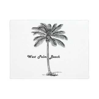 Black and white West Palm Beach & Palm design Doormat