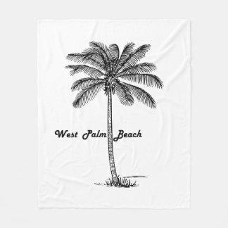 Black and white West Palm Beach & Palm design Fleece Blanket