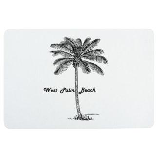 Black and white West Palm Beach & Palm design Floor Mat