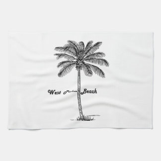 Black and white West Palm Beach & Palm design Kitchen Towel