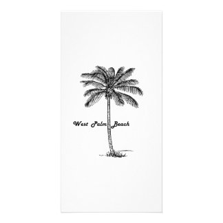Black and white West Palm Beach & Palm design Photo Cards