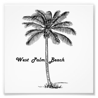 Black and white West Palm Beach & Palm design Photo Print