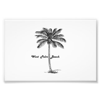 Black and white West Palm Beach & Palm design Photographic Print