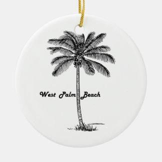 Black and white West Palm Beach & Palm design Round Ceramic Ornament