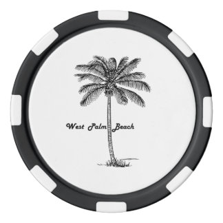 Black and white West Palm Beach & Palm design Set Of Poker Chips