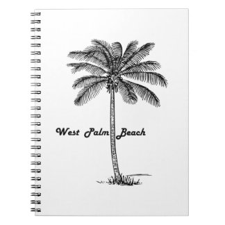 Black and white West Palm Beach & Palm design Spiral Note Book