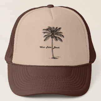 Black and white West Palm Beach & Palm design Trucker Hat