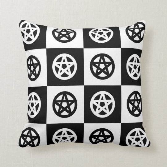 Black and White Wicca/Pagan Pentacles Checkerboard Throw Pillow