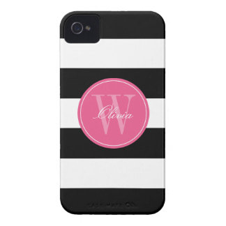 Black and White Wide Stripes Pattern Monogram iPhone 4 Case-Mate Cases