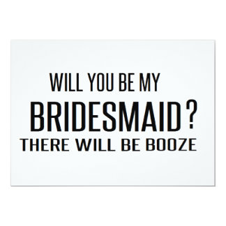 """Black and White will you be my bridesmaid funny 5"""" X 7"""" Invitation Card"""