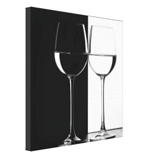 black and white wine glasses canvas wall print