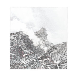 Black and white winter mountains notepads