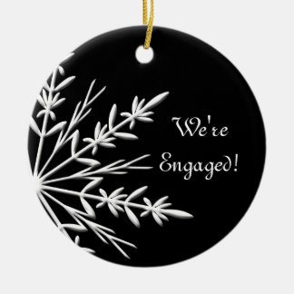 Black and White Winter Snowflake Engagement Ceramic Ornament
