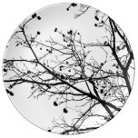 Black and White Winter Tree Porcelain Plate