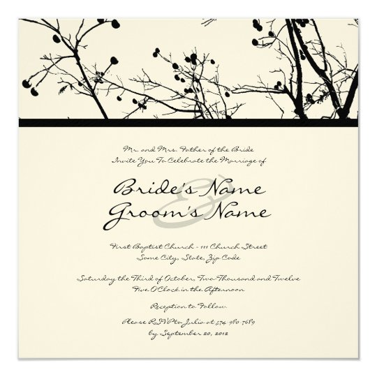 Black and White Winter Tree Wedding Invitation