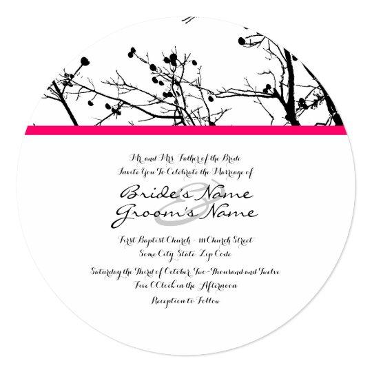 Black and White Winter Tree Wedding Invitation