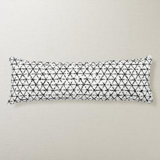 Black and White with Gray Shibori Geometric Body Pillow