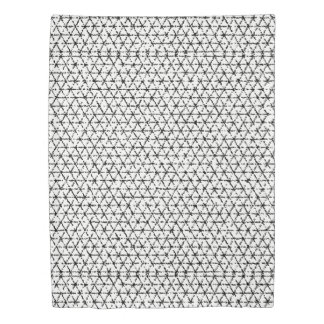 Black and White with Gray Shibori Geometric Duvet Cover