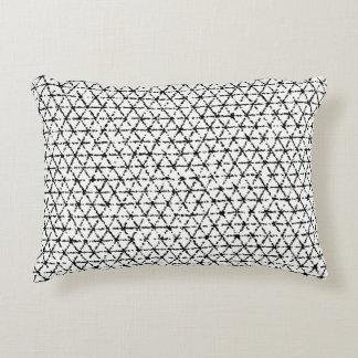 Black and White with Grey Shibori Geometric Accent Pillow