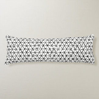 Black and White with Grey Shibori Geometric Body Pillow