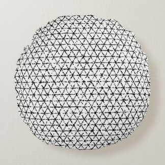 Black and White with Grey Shibori Geometric Round Pillow