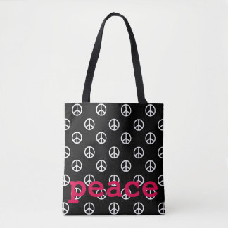 Black and White with Hot Pink Peace Personalized Tote Bag