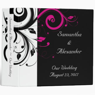 Black and White with Magenta Swirl Accent 3 Ring Binder